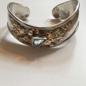 Jewelry - Sterling Silver & Blue Topaz 14K Cuff Bracelet